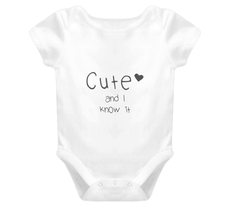 0d23522de Cute and I Know It - grey Funny Onesie Baby T Shirt