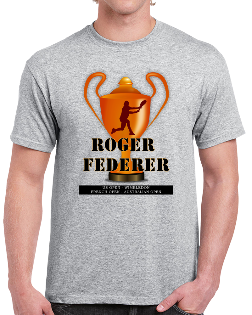 Roger Federer T Shirt 19 Grand Slams Won Swiss Pro Tennis Player Top