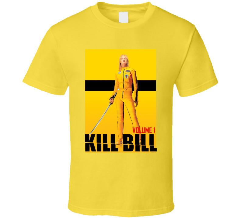 Kill Bill Poster Yellow T-shirt Graphic Movie Volume 1 The Bride T-shirts
