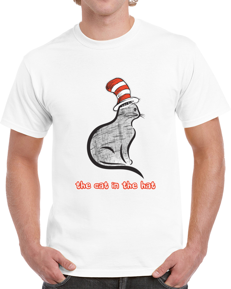 Dr. Seuss - Cat In The Hat Sketch T-shirt Cartoon Movie Unisex Top Tee