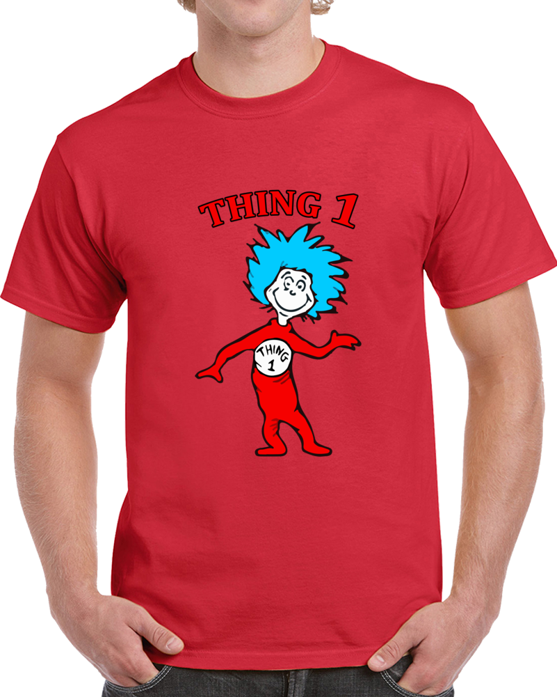 Cat In The Hat Dr. Seuss T-shirt Thing 1 Full Character Drawing Top