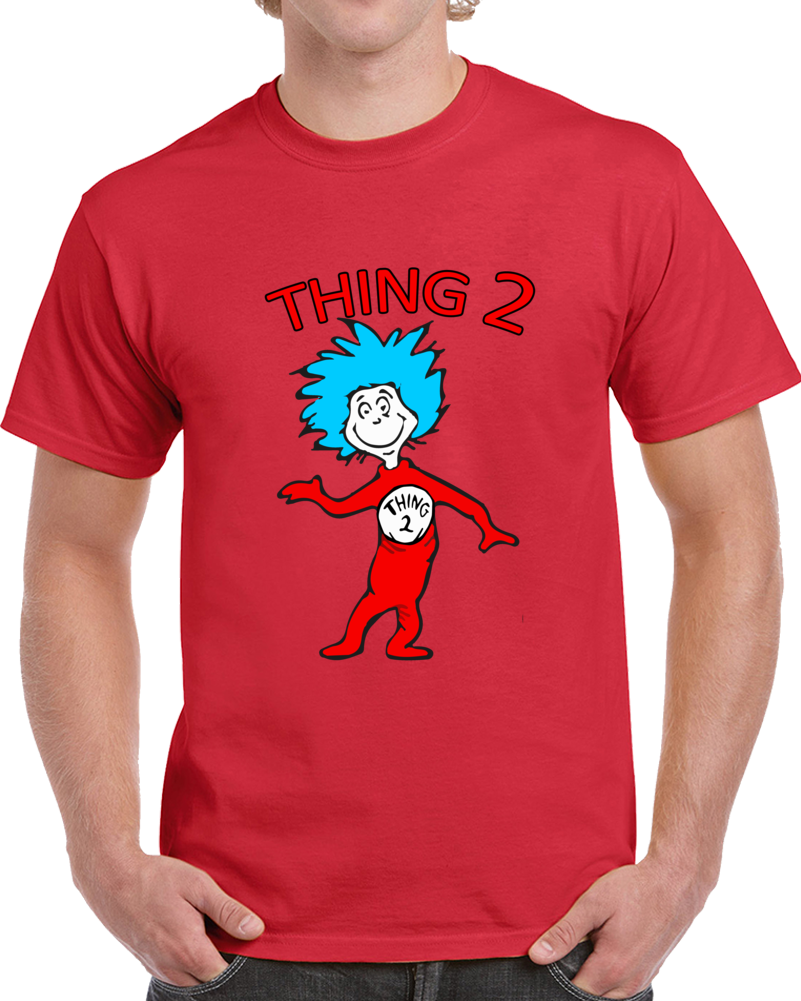 Cat In The Hat Dr. Seuss T-shirt Thing 2 Full Character Drawing Top Tee