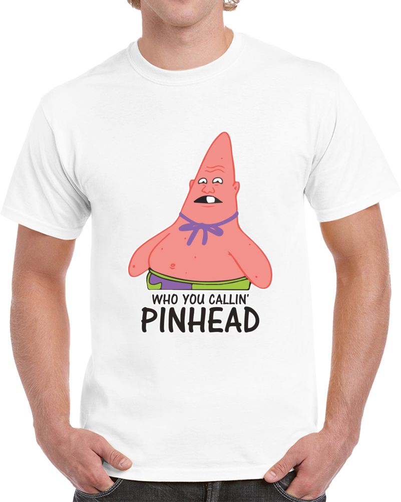 Who You Callin' Pinhead Gray Funny T Shirt Tv Show Spongebob Squarepants
