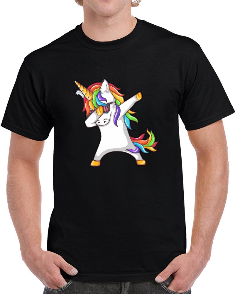 Dabbing Unicorn Funny Magic T Shirt Wearing Sunglasses On Dab Pose Top