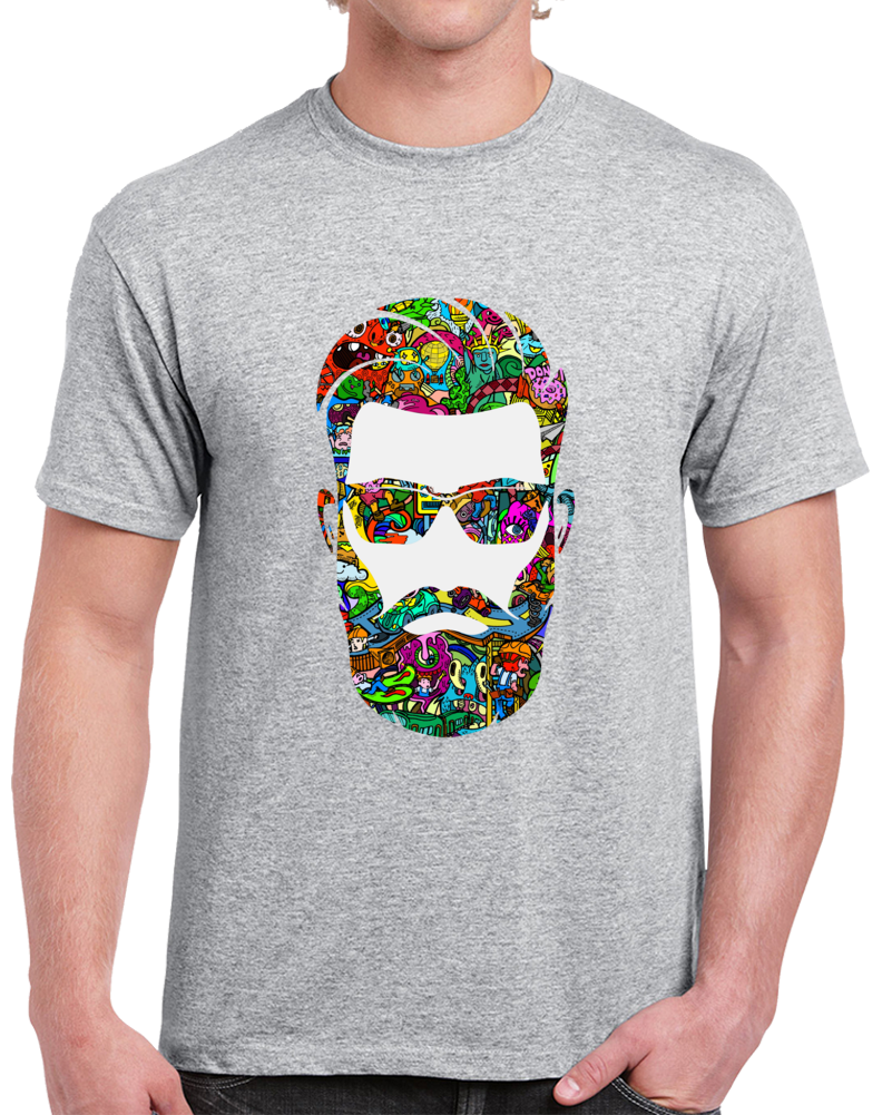 Bearded Hipster T-shirt  Colorful Cool Hipster Beard Glasses Top Tee