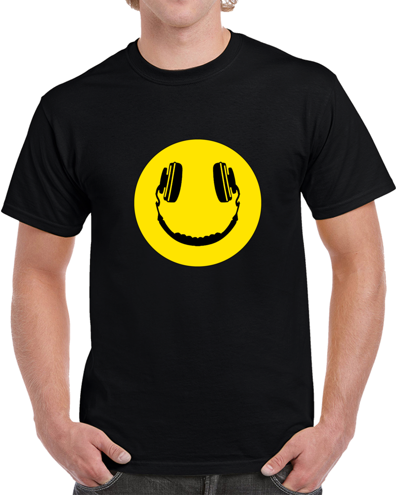 Happy Headphones Smiley Face T-shirt Dj Headphone Music Unisex Top