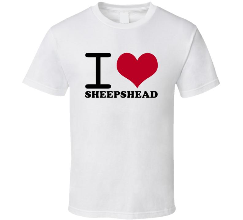 I Love Sheepshead Popular Card Game Classic Heart T Shirt