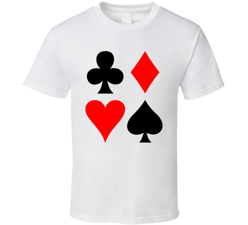 Four Suits Clubs Hearts Spades Diamonds Game Casino Gambling Poker T Shirt