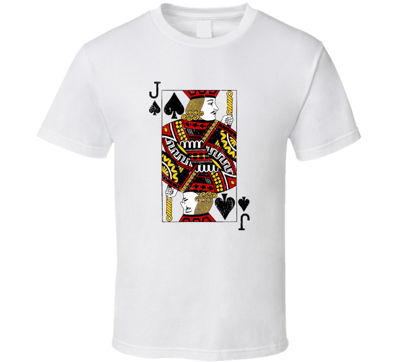 Jack Face Card Poker Player Las Vegas Casino Party Gambler Grunge Look T Shirt