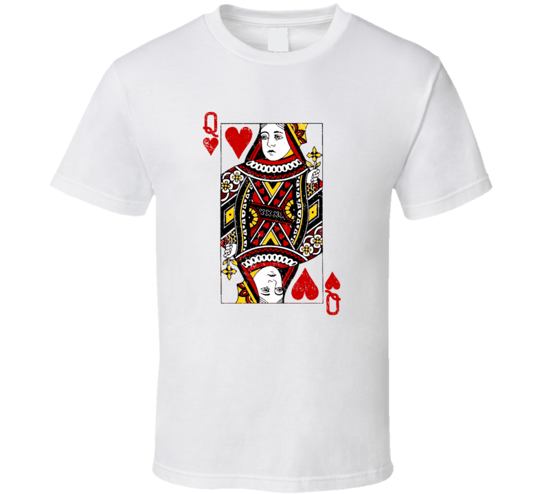 Queen Face Card Poker Player Las Vegas Casino Party Gambler Grunge Look T Shirt