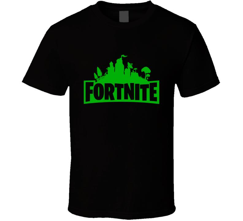 Fortnite Video Game Green Logo Online Shooter T Shirt