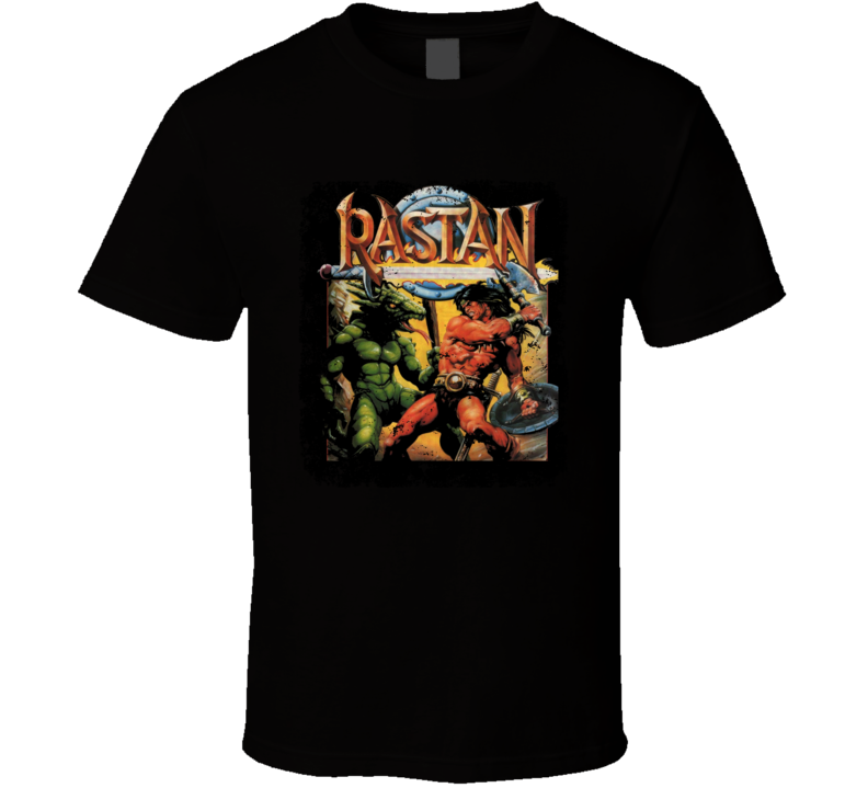 Rastan Retro Video Game Cover Art Distressed T Shirt