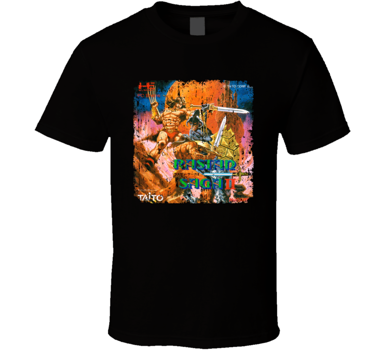 Rastan Saga 2 Nastar Retro Video Game Distressed Cover Art T Shirt