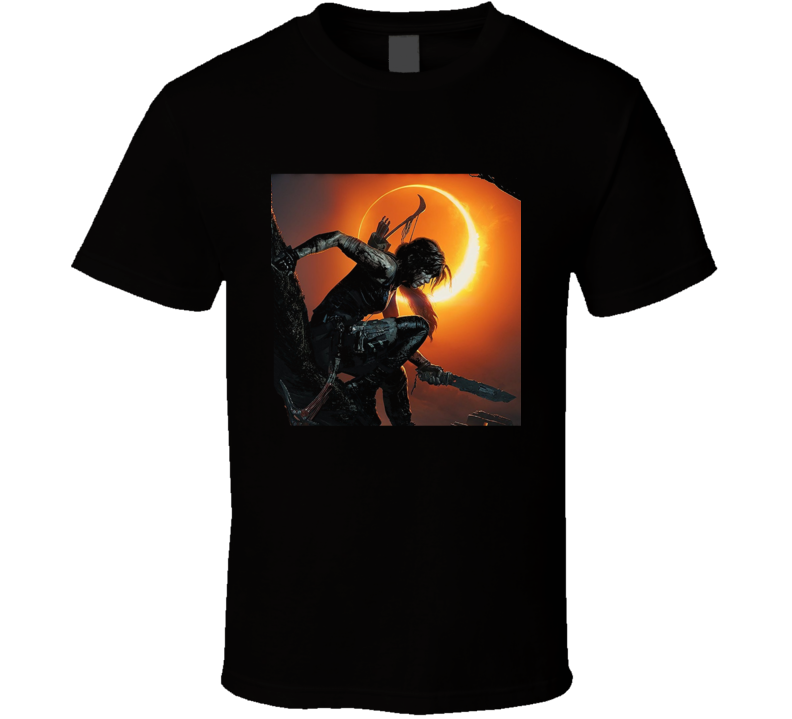 Shadow Of The Tomb Raider Video Game Lara Croft Cover Black T Shirt