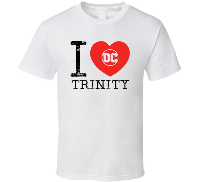 Trinity I Love Heart Comic Books Super Hero Villain T Shirt
