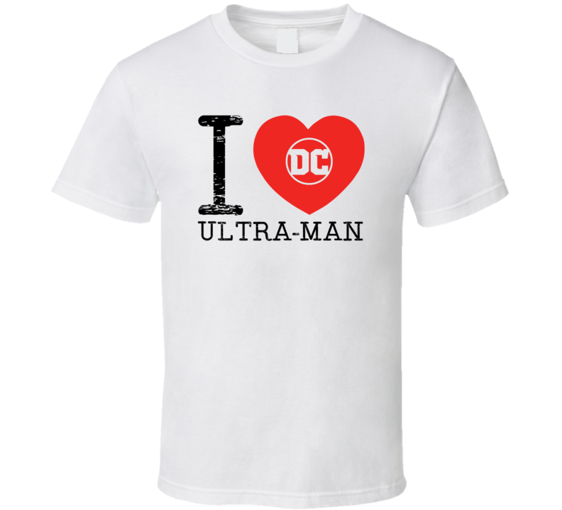 Ultra Man I Love Heart Comic Books Super Hero Villain T Shirt