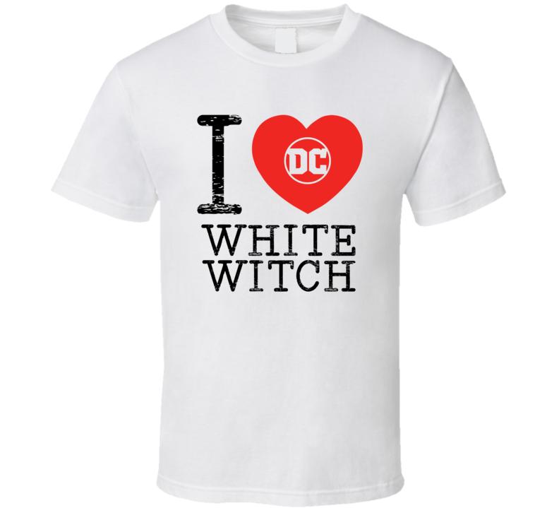 White Witch I Love Heart Comic Books Super Hero Villain T Shirt