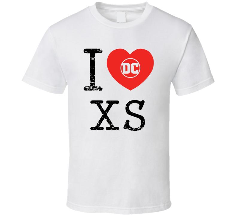 Xs I Love Heart Comic Books Super Hero Villain T Shirt