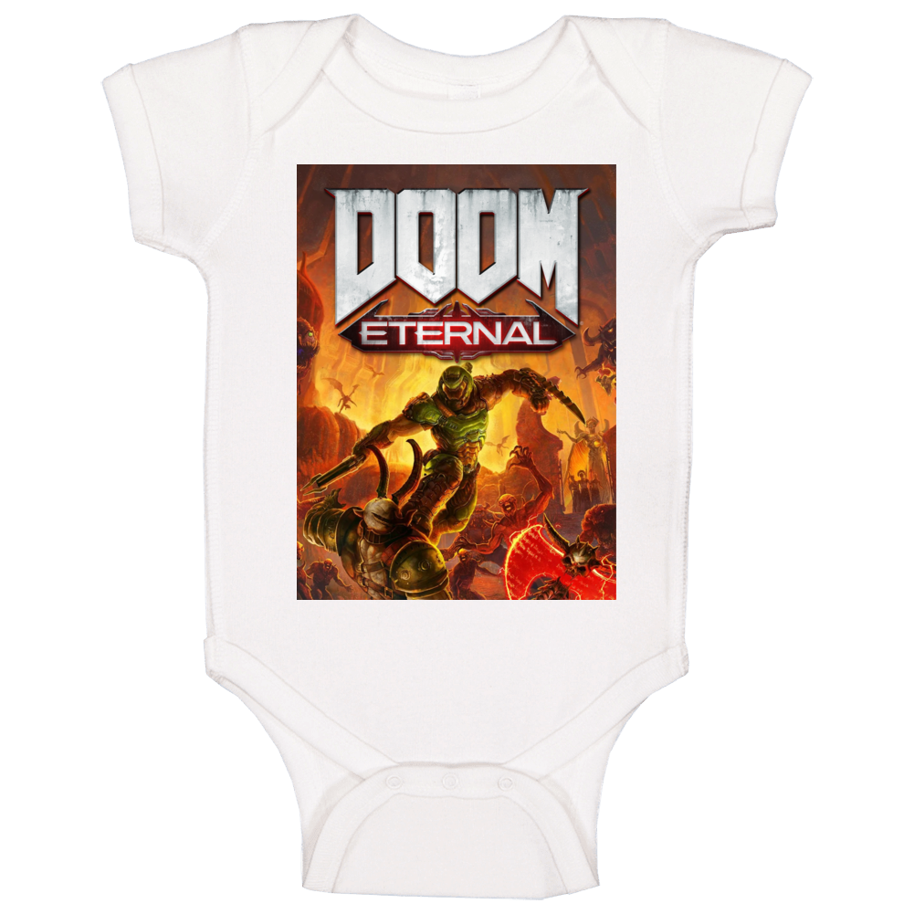 Doom Eternal Video Game Cover Shooter Demons Baby One Piece