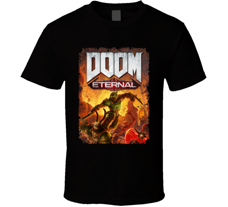 Doom Eternal Video Game Cover Shooter Demons Distressed T Shirt