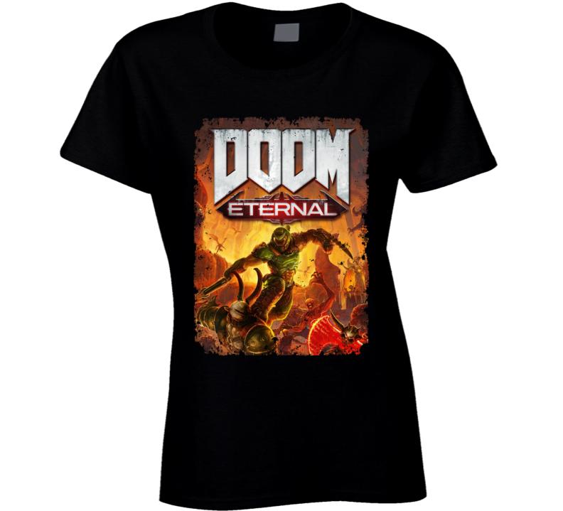 Doom Eternal Video Game Cover Shooter Demons Distressed Ladies T Shirt