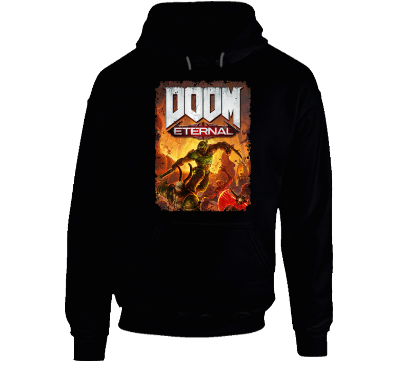 Doom Eternal Video Game Cover Shooter Demons Distressed Hoodie