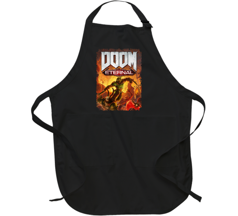 Doom Eternal Video Game Cover Shooter Demons Distressed Apron