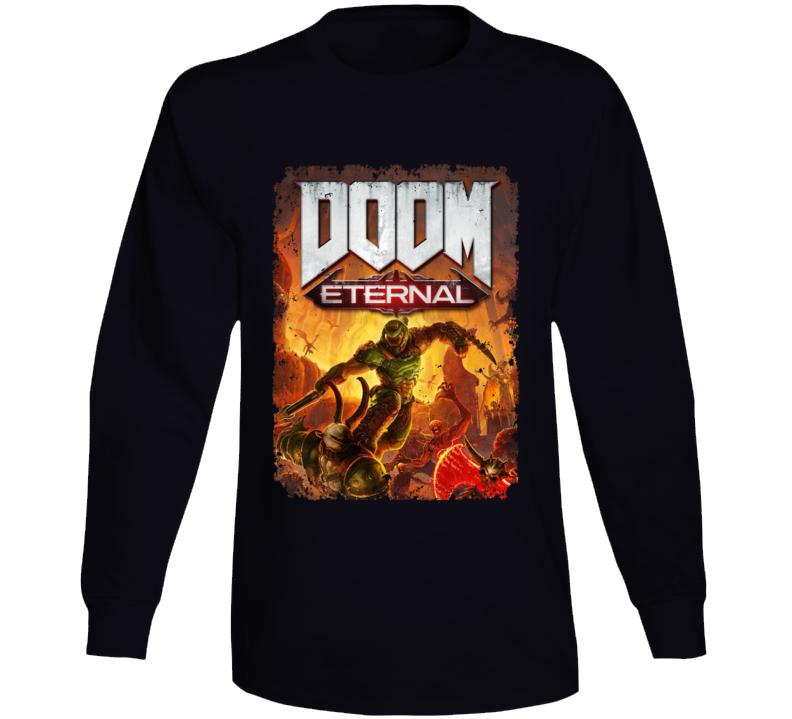 Doom Eternal Video Game Cover Shooter Demons Distressed Long Sleeve