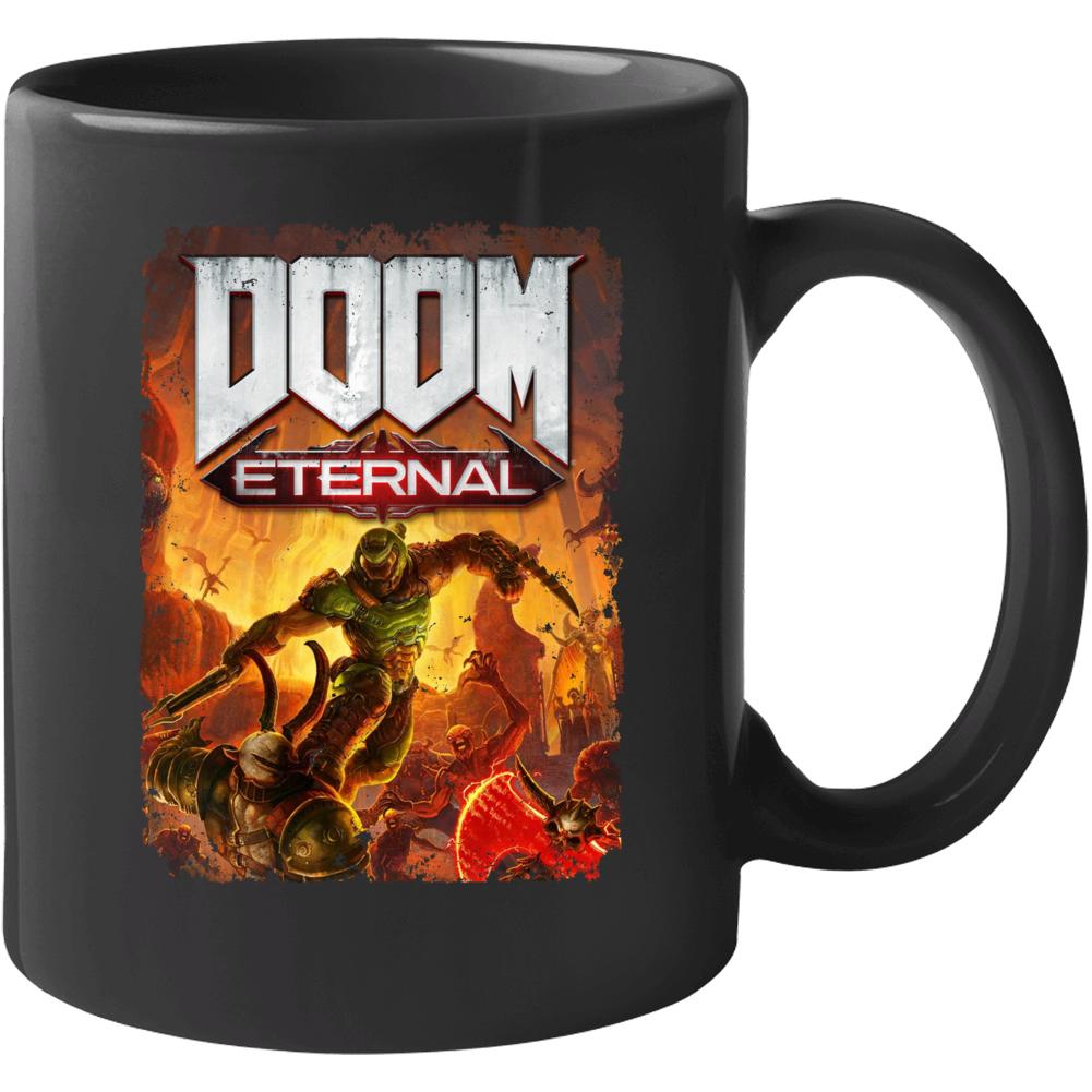 Doom Eternal Video Game Cover Shooter Demons Distressed Mug