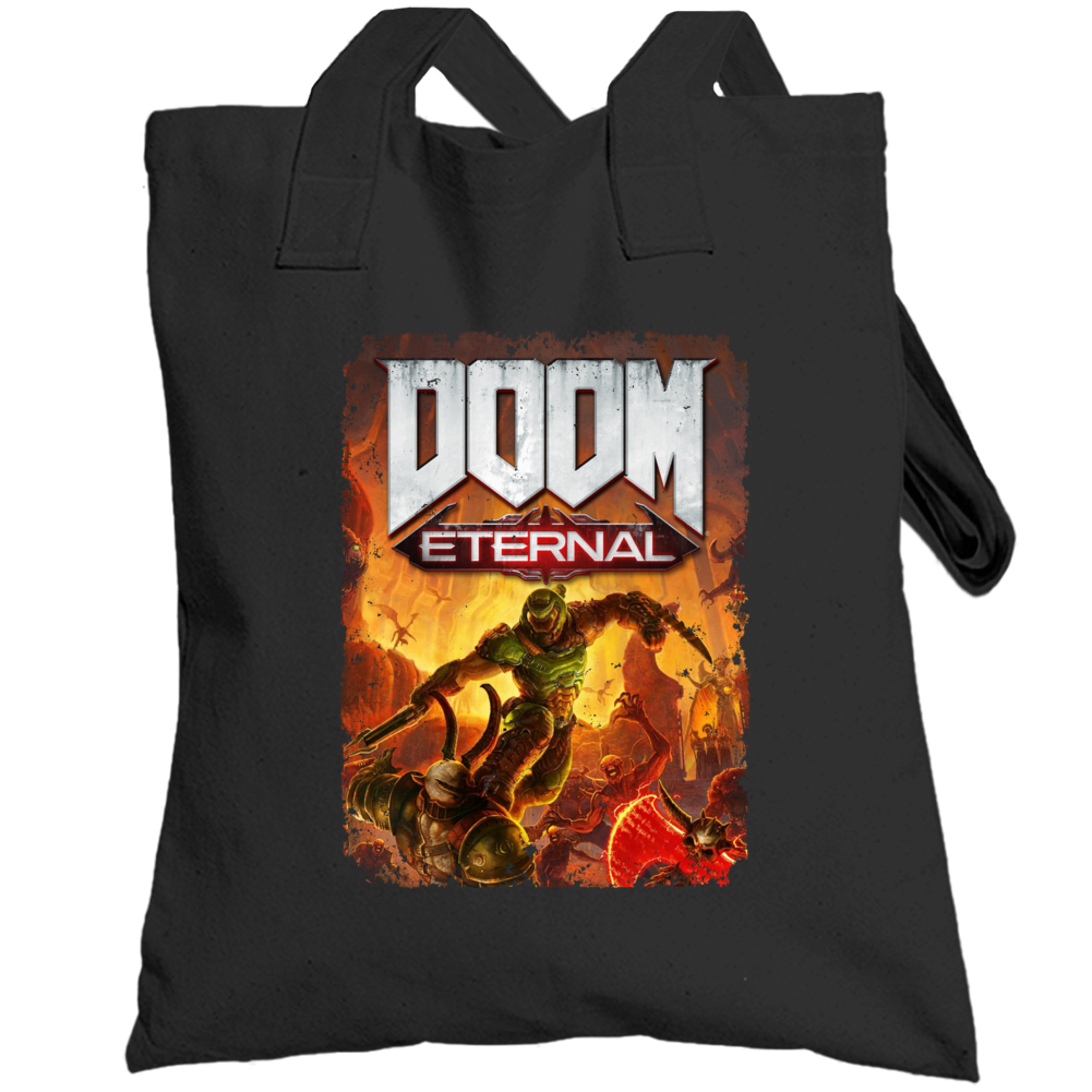 Doom Eternal Video Game Cover Shooter Demons Distressed Totebag