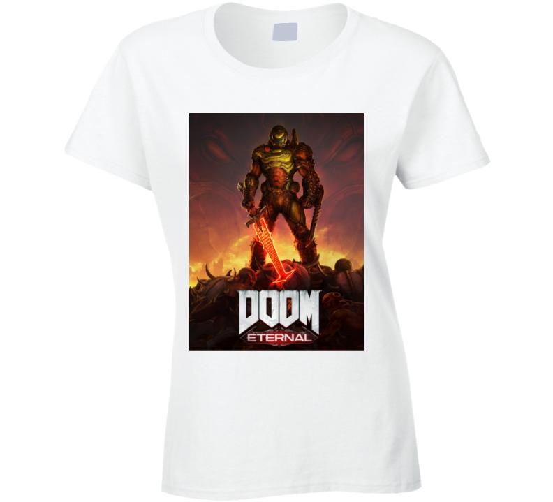 Doom Eternal Video Game Cover Art Demons Ladies T Shirt