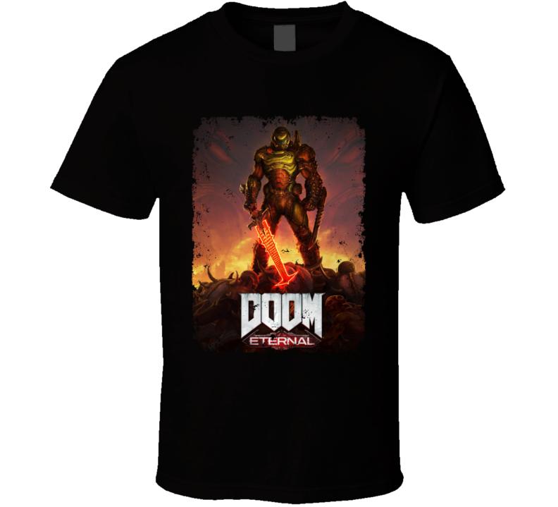 Doom Eternal Video Game Cover Art Demons Distressed T Shirt