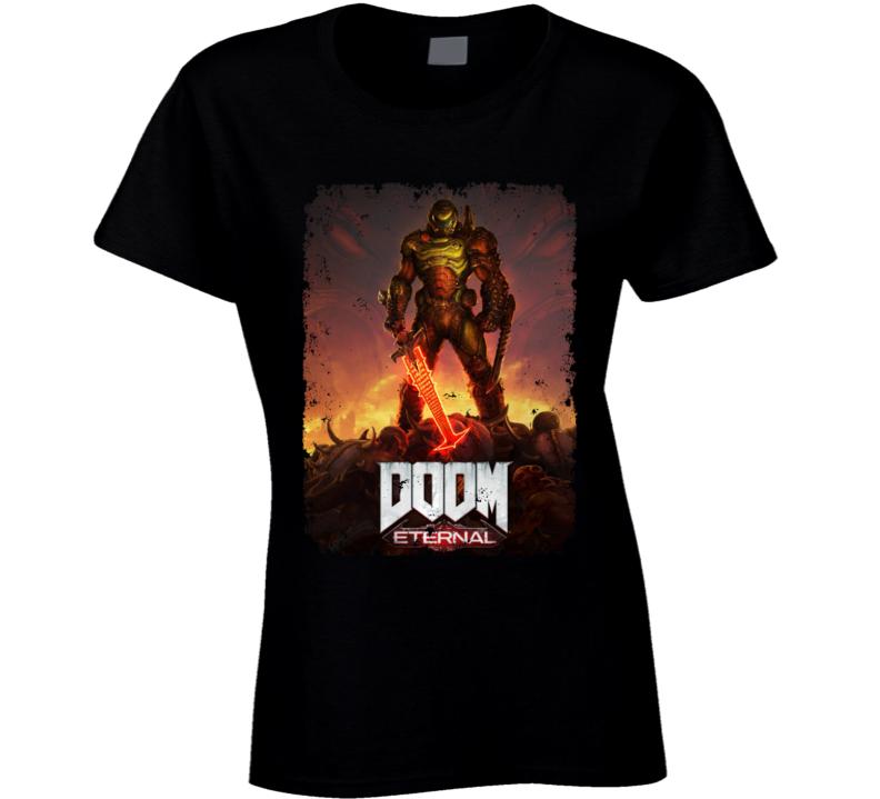 Doom Eternal Video Game Cover Art Demons Distressed Ladies T Shirt