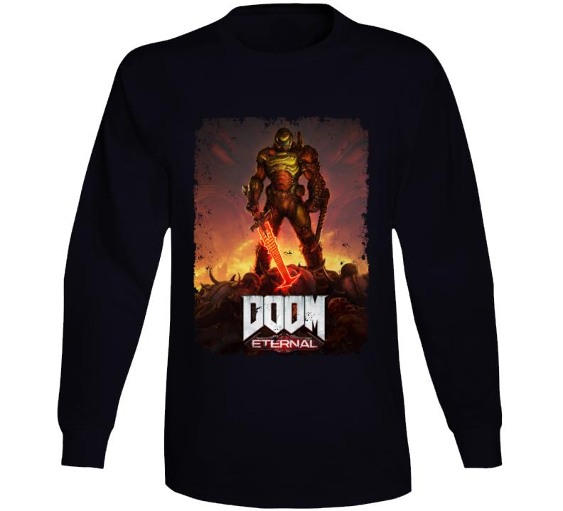 Doom Eternal Video Game Cover Art Demons Distressed Long Sleeve