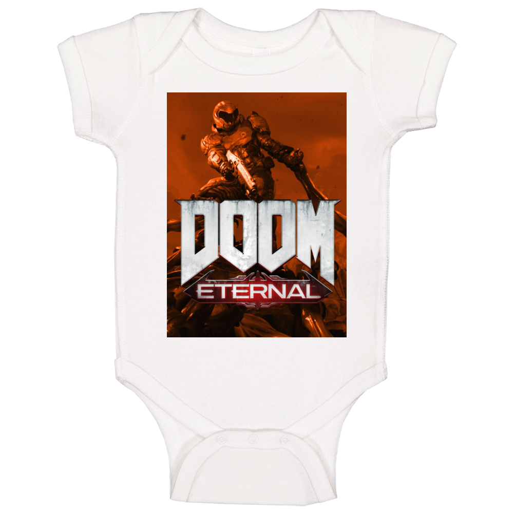 Doom Eternal Video Game Sepia Cover Art Demons Baby One Piece