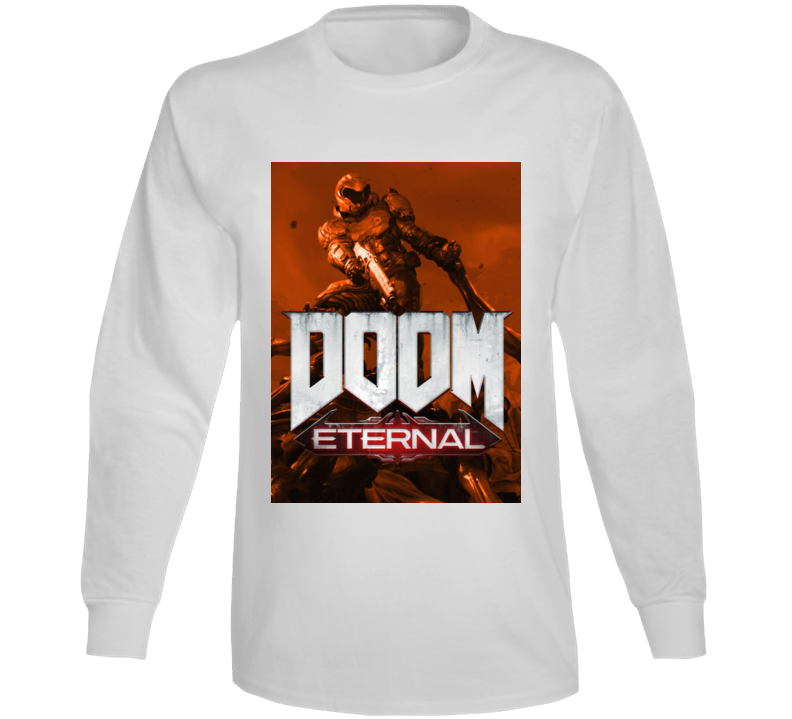 Doom Eternal Video Game Sepia Cover Art Demons Long Sleeve