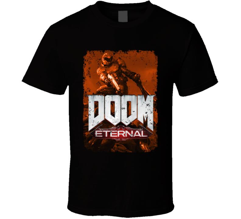 Doom Eternal Video Game Sepia Cover Art Demons Distressed T Shirt