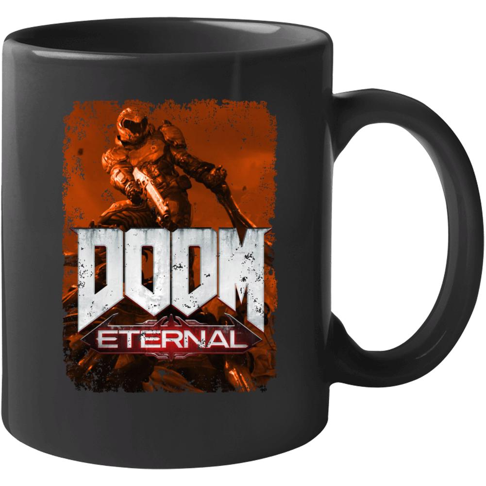Doom Eternal Video Game Sepia Cover Art Demons Distressed Mug