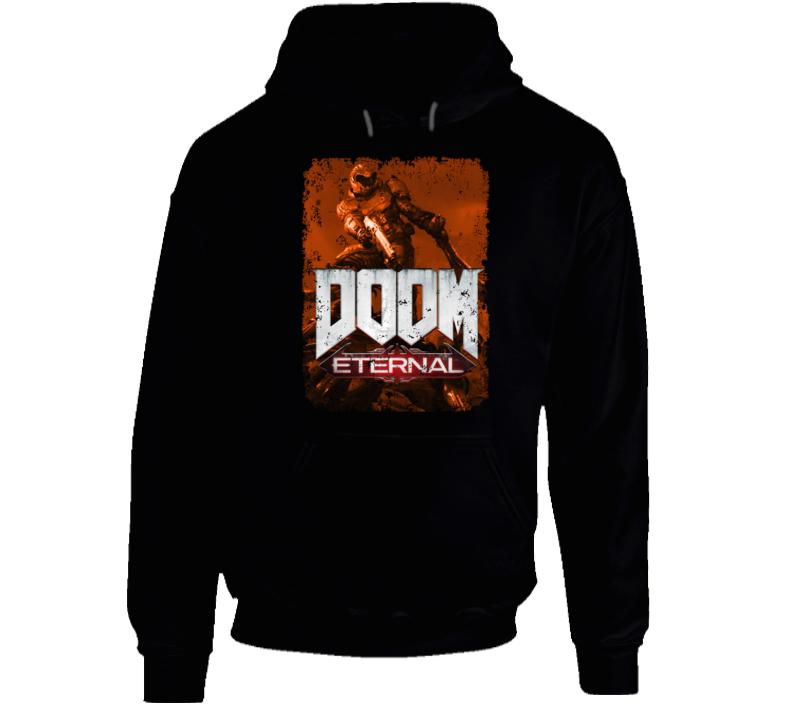 Doom Eternal Video Game Sepia Cover Art Demons Distressed Hoodie