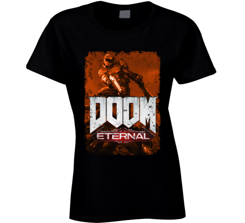 Doom Eternal Video Game Sepia Cover Art Demons Distressed Ladies T Shirt