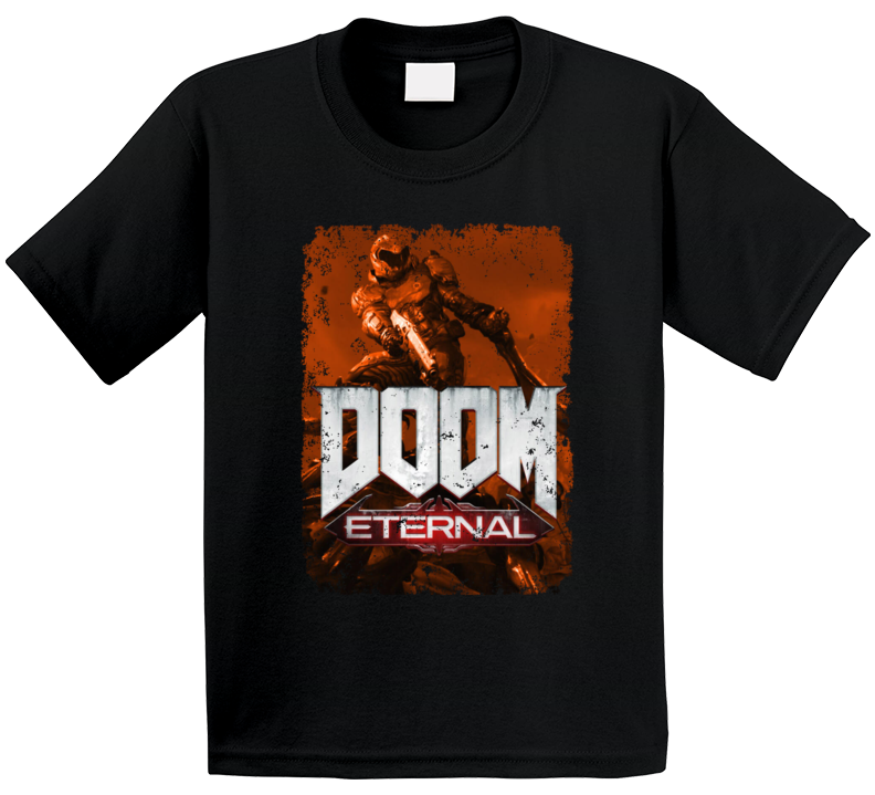 Doom Eternal Video Game Sepia Cover Art Demons Distressed T Shirt