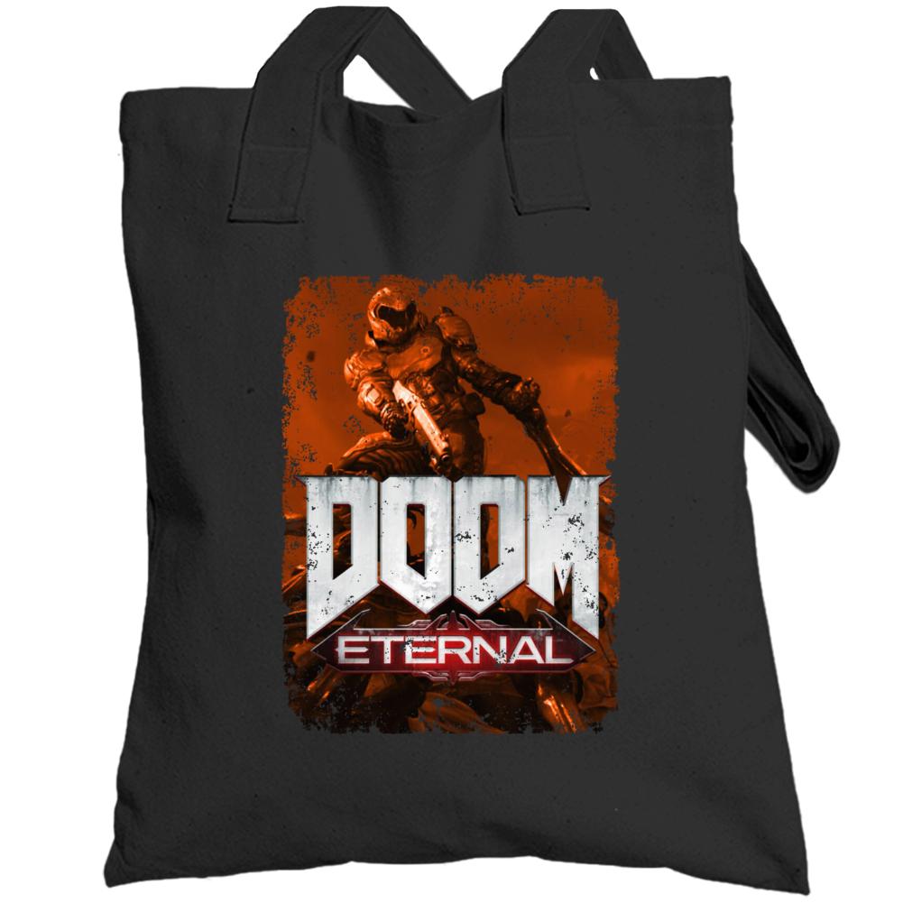 Doom Eternal Video Game Sepia Cover Art Demons Distressed Totebag