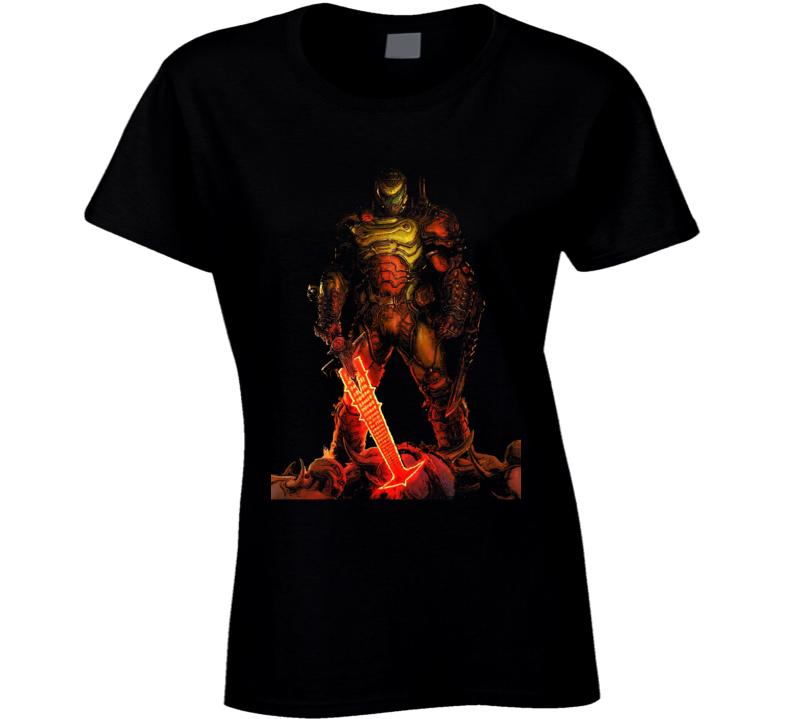 Doom Eternal Video Game Slayer Demons Black Ladies T Shirt