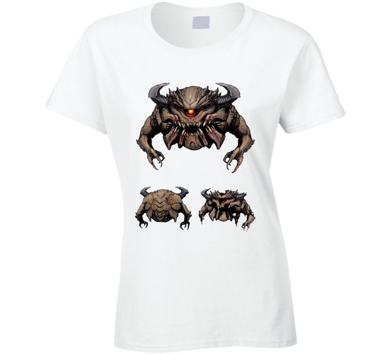 Doom Eternal Video Game Pain Elemental Eye Demon Ladies T Shirt