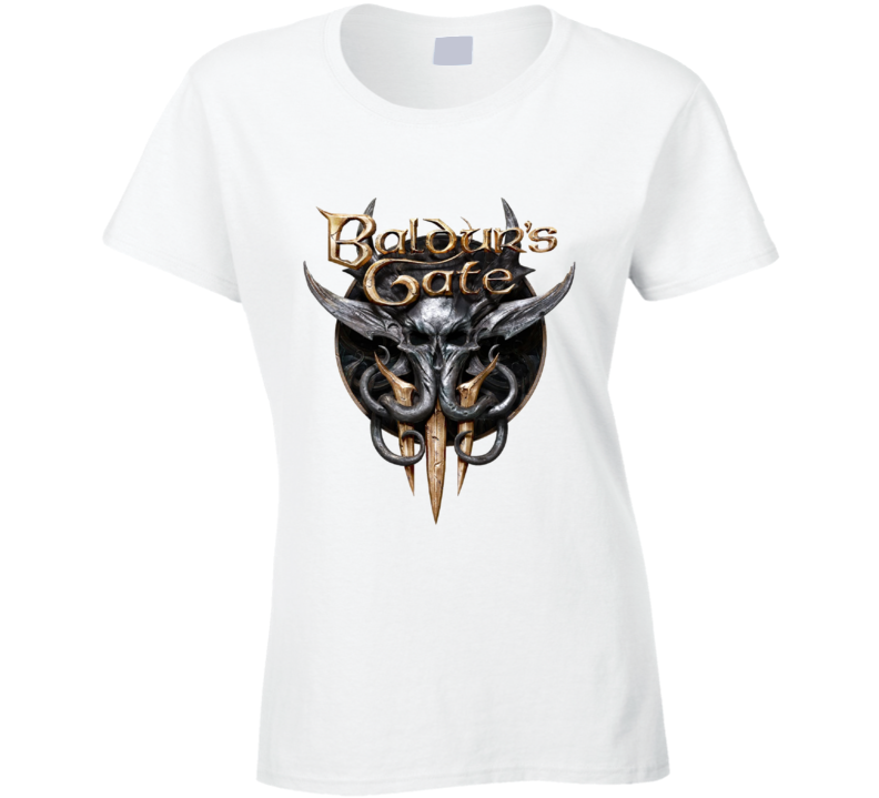 Baldurs Gate 3 Logo Rpg Video Game Dungeons Dragons Ladies T Shirt