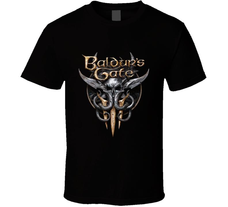 Baldurs Gate 3 Logo Rpg Video Game Dungeons Dragons Black T Shirt