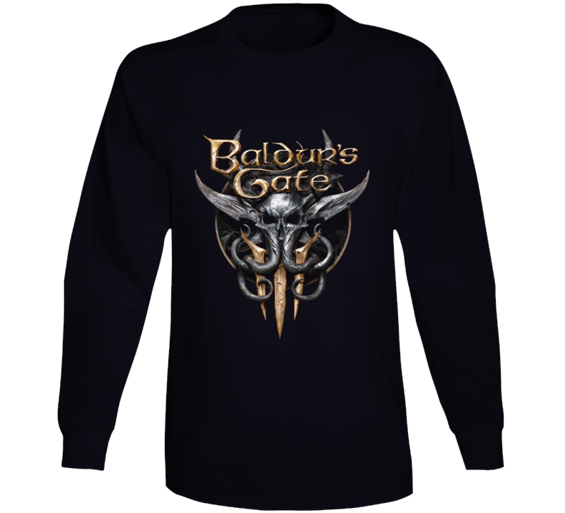 Baldurs Gate 3 Logo Rpg Video Game Dungeons Dragons Black Long Sleeve