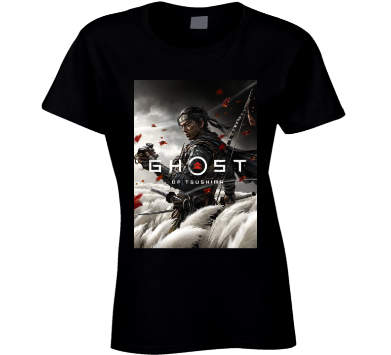Ghost Of Tsushima Video Game Cover Art Ladies T Shirt