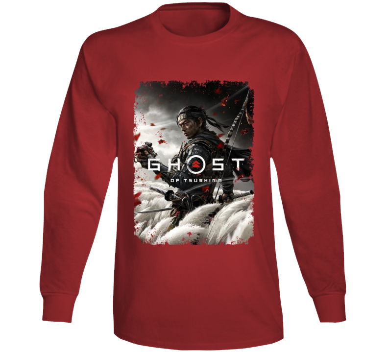 Ghost Of Tsushima Video Game Cover Art Aged Long Sleeve T Shirt