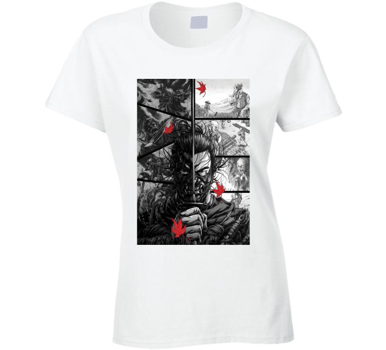 Ghost Of Tsushima Video Game Comic Page Art Ladies T Shirt